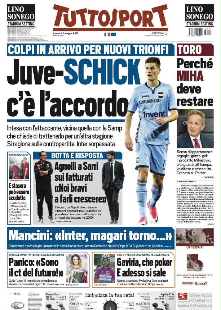 Front page of #TS reports that #Juve have an agreement with #Schick over a transfer. They&#39;re[also] close to reaching an agreement with #Samp<br>http://pic.twitter.com/WvUk3Uldwt