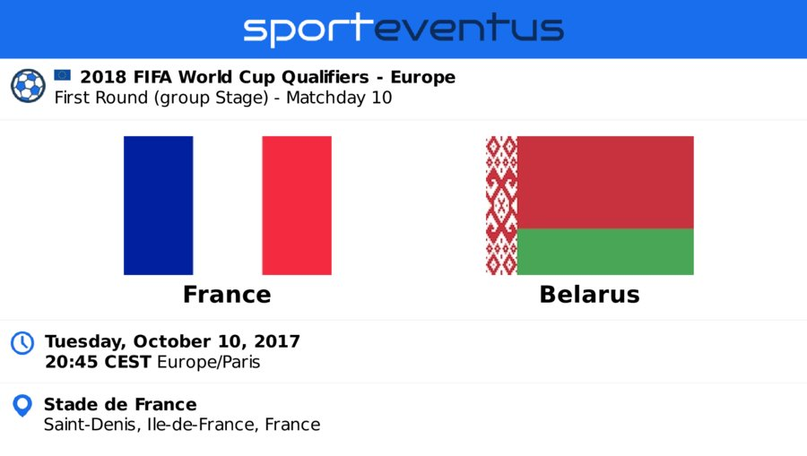 Check out #equipedefrance vs #Belarus  October 10th 20:45 CEST  #EuroQualifiers  Compare #tickets &amp; buy in-app  http:// link.sporteventus.com/evtw?event_id= 100284 &nbsp; … <br>http://pic.twitter.com/14zaxC1VOe