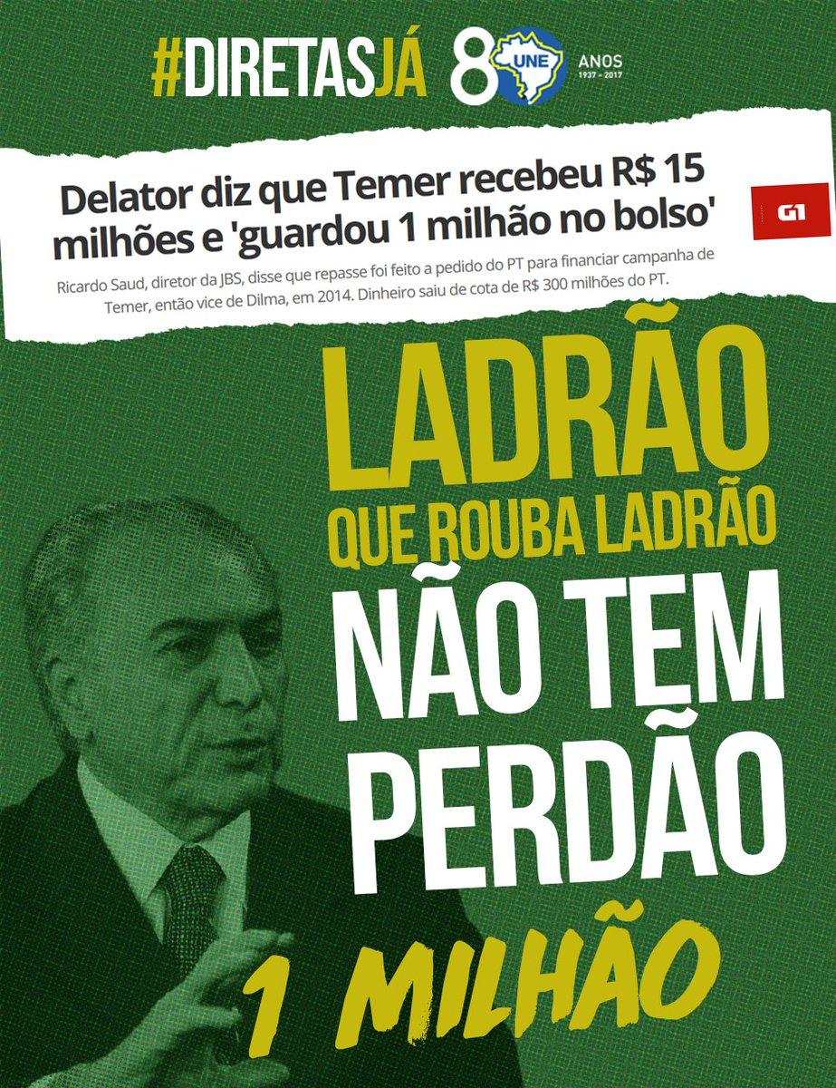 Delator diz que Temer recebeu R$ 15 milhões e 'guardou 1 milhão no bolso' https://t.co/bKofTGUD1K  #ForaTemer #DiretasJá #QueroVotar