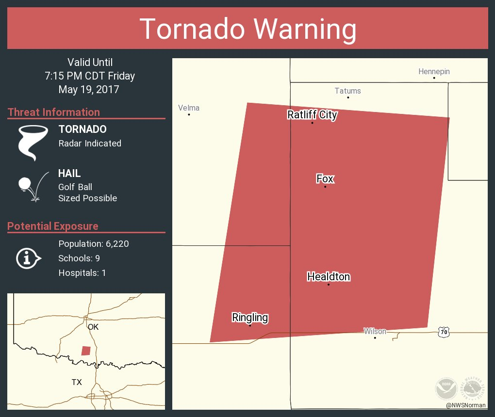 Tornado Warning including Healdton OK, Ringling OK ...