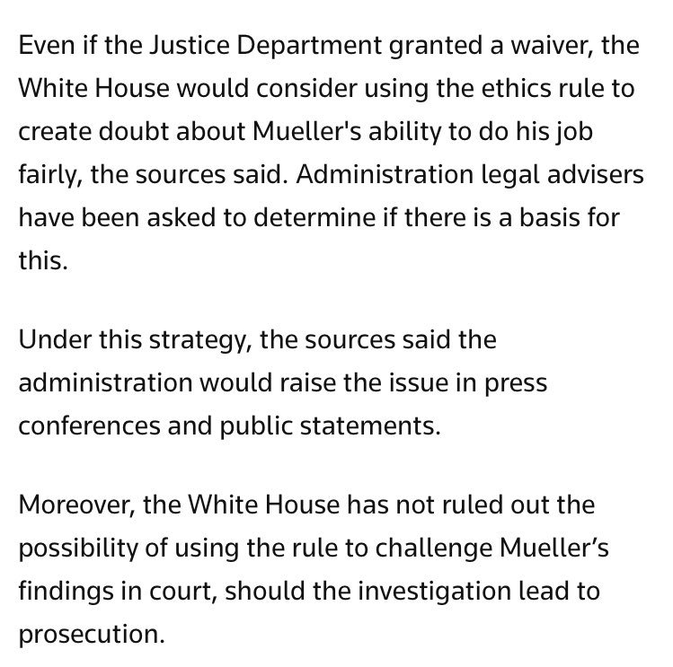 The White House is looking at an ethics rule to weaken or undermine the FBI's Russia investigation, per @Reuters https://t.co/uo5pm09zFc