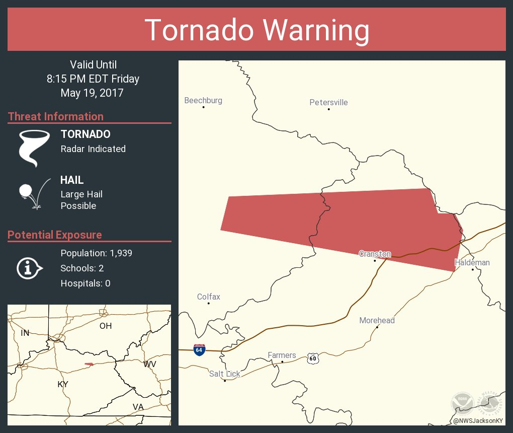 Tornado Warning including Rowan County, KY until 8:15 PM EDT