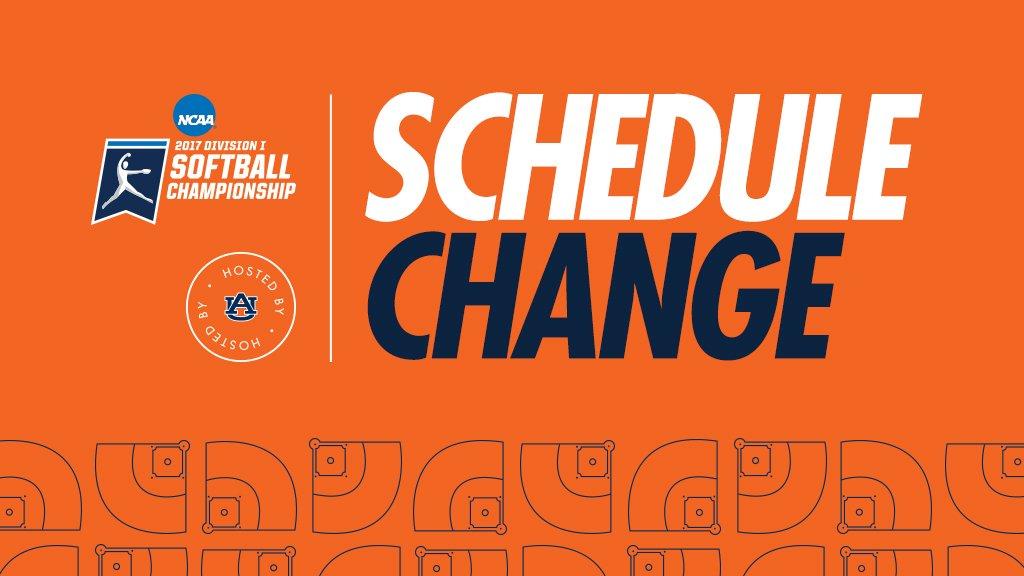 "Auburn Softball ar Twitter: ""🚨 SCHEDULE CHANGE"