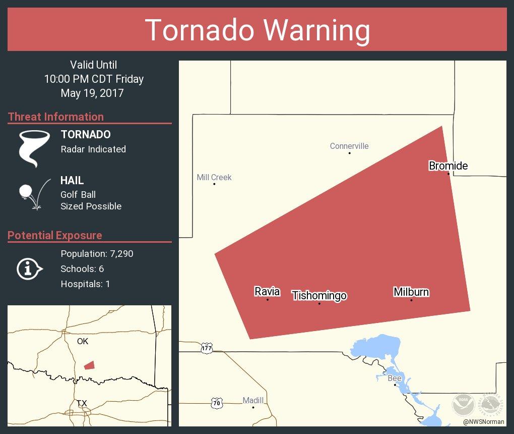 Tornado Warning including Tishomingo OK, Ravia OK, Milburn OK until 10:00 PM CDT