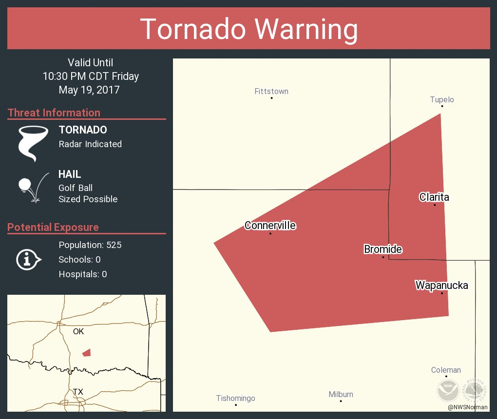 Tornado Warning including Wapanucka OK, Bromide OK, Clarita OK until 10:30 PM CDT