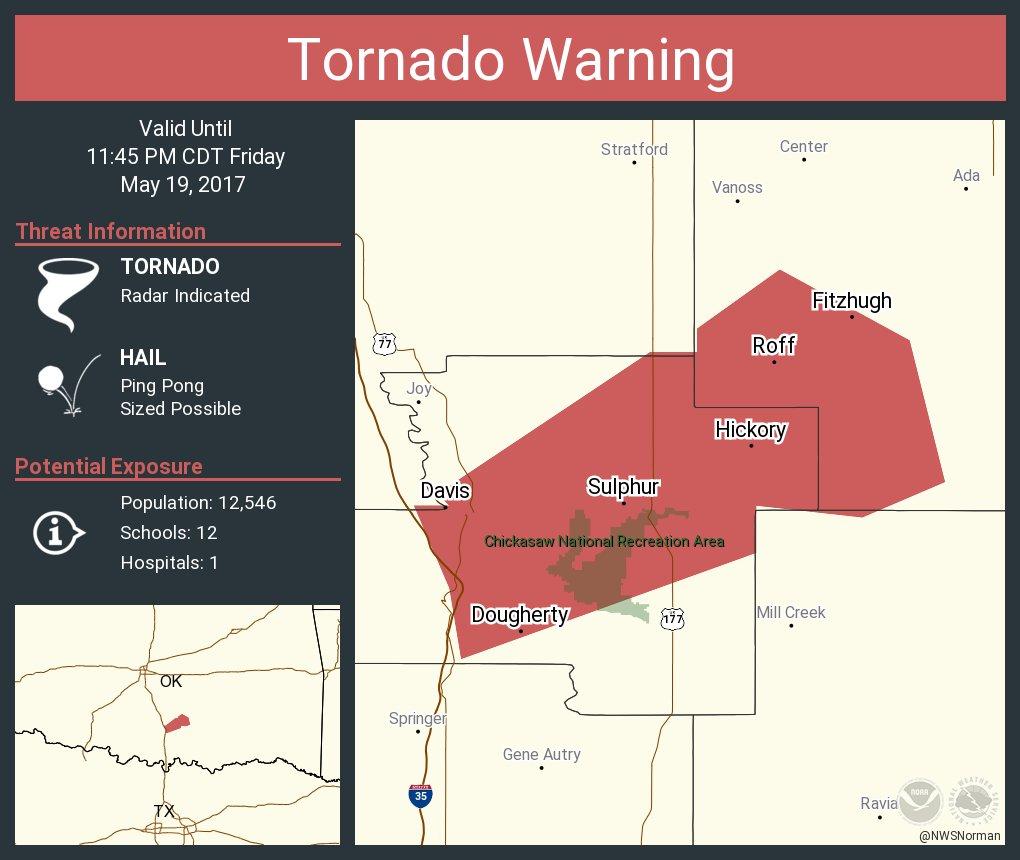 Tornado Warning including Sulphur OK, Davis OK, Roff OK until 11:45 PM CDT