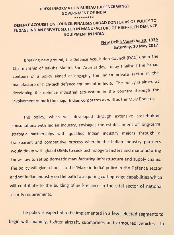 BREAKING: Indian MoD finalises \'Strategic Partnership\' policy for @MakeInIndia mega-projects. Roll-out soon.