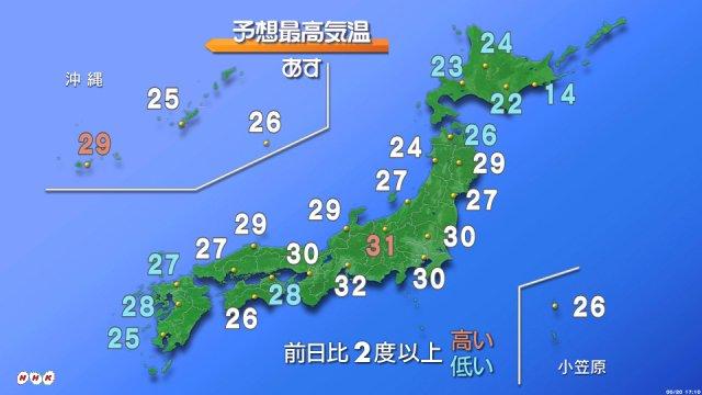 【各地で真夏日 あすも熱中症に十分注意】ほぼ全国的に晴れて気温が上がり各地で気温30度以上の真夏日と…