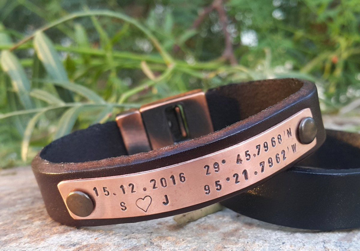 Personalized GPS Coordinates Leather Bracelet, Hand Stamped Copper Plate, Genuine Leather  https:// seethis.co/lB3VL/  &nbsp;   #shopetsy #mensstyle <br>http://pic.twitter.com/S3Xfk3upCA