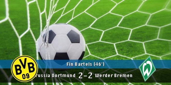 Goaaal! Fin Bartels (&#39;46) scores!!  #BorussiaDortmund 2 #WerderBremen 2<br>http://pic.twitter.com/Mv30xzW9ea