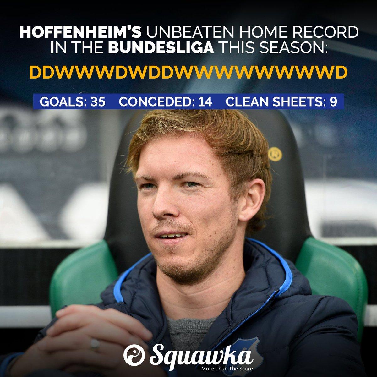 Hoffenheim's unbeaten home season in the #Bundesliga 2016/17:  DDWWWDWDDWWWWWWWWD  Goals: 35 Clean sheets: 9  The Nagelsmann effect.  <br>http://pic.twitter.com/wKspG8jzoH