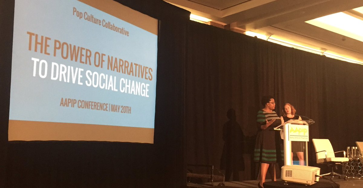 Bridgit Antoinette Evans &amp; @tracyvs of @PopCollab speak on the power of narrative + pop culture as tools to effect social change #aapip2017 <br>http://pic.twitter.com/usBntTWrdo