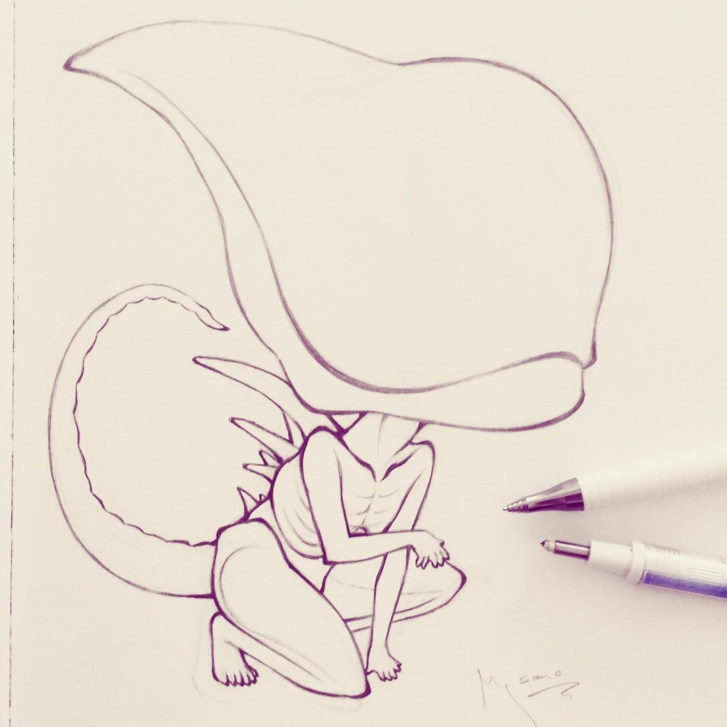 Just watched ALIEN COVENANT. Had so much fun and needed to draw the new #Neomorph as chibi, hehe  #AlienConvenant<br>http://pic.twitter.com/8c1Z4ai108