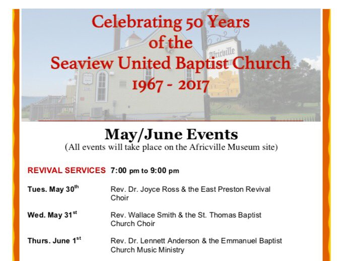 Pls join us for the 50th Anniversary Commemorate services of Seaview United Baptist Church ~ AFRICVILLE (the spirit lives on) #AUBA <br>http://pic.twitter.com/jMlx0k3hSP