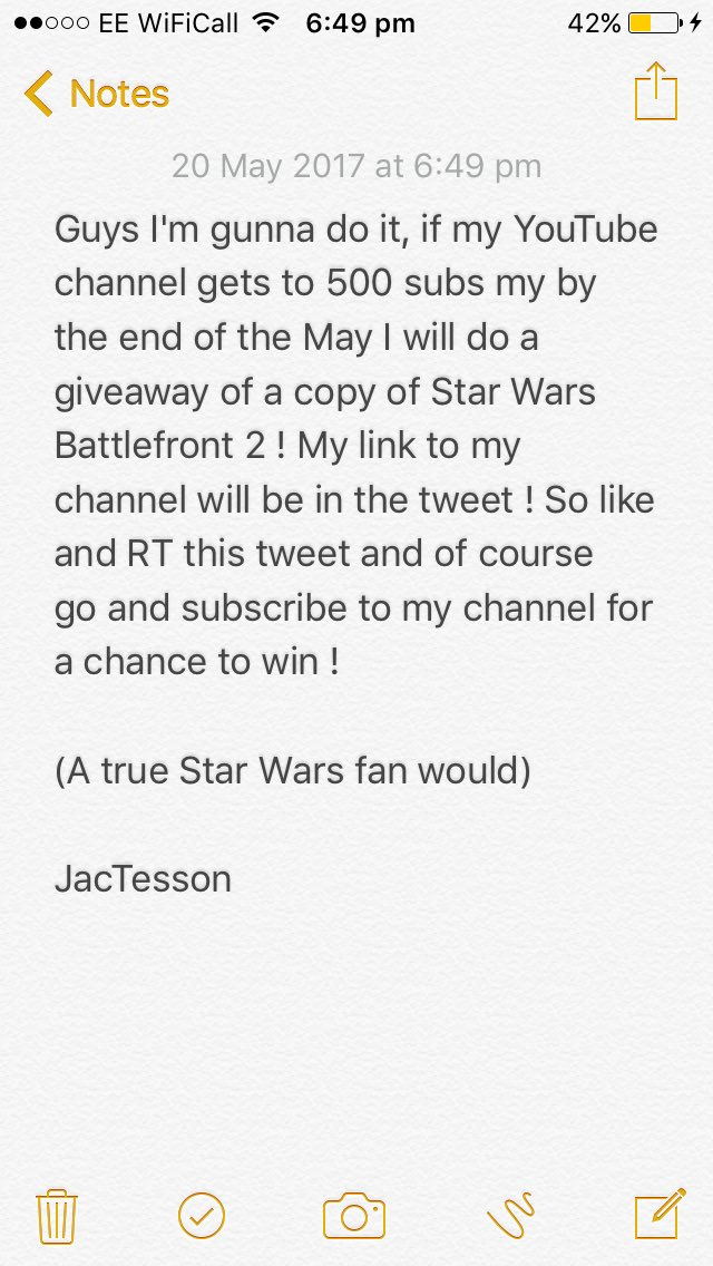 Guys ! Read the image to find out how to win a copy of #StarWarsBattlefrontII   http:// youtube.com/channel/UCLuR1  &nbsp;  … #StarWars #Battlefront2 <br>http://pic.twitter.com/qDFgmvwNZ0