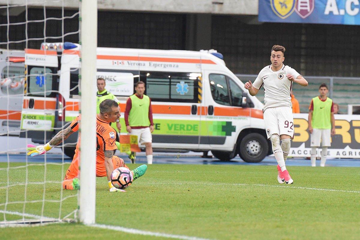 FECHA 37 #SerieA  #Chievo 3-5 #AS Roma Guerra de Goles en el Bentegodi. La Loba pone presión a la Juve y sueña con el Scudetto pic.twitter.com/Jx6Ij1Y7fb