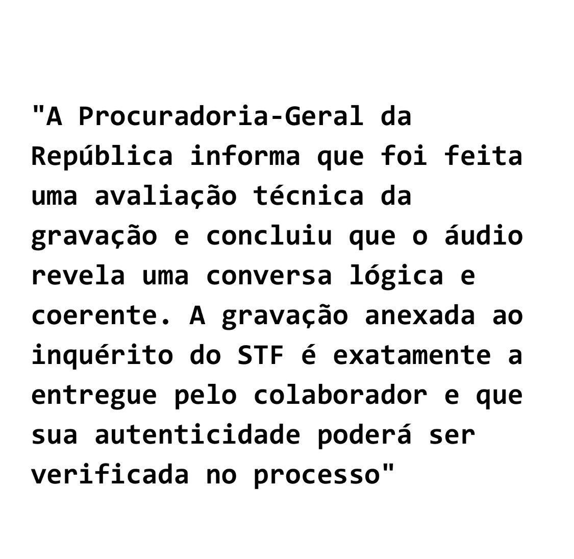 Nota do @MPF_PGR desmente reportagem da @folha e confirma análise na gravação da delação da JBS.
