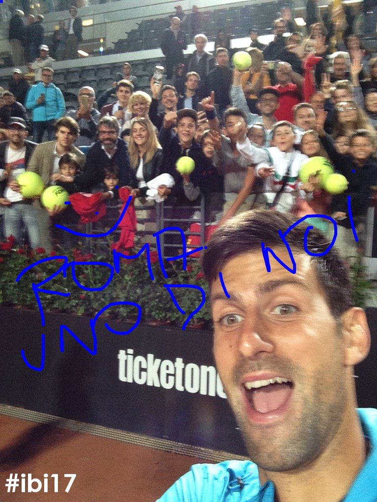 .@DjokerNole &quot;uno di noi!&quot;.  The exclusive selfie with his fans after the victory against #Thiem! #ibi17 #Djokovic #ATP<br>http://pic.twitter.com/wpOThRjtmW