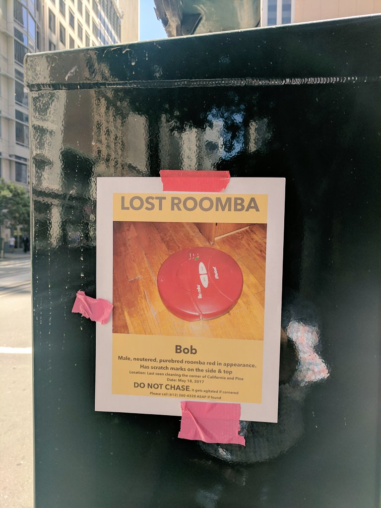 Lost Roomba https://t.co/cPd3Oc8T3Z