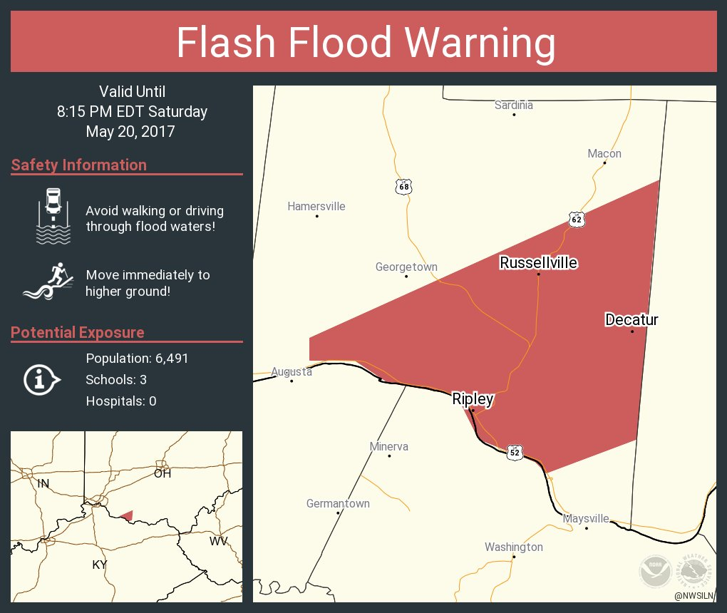 Ripley Ohio Map.Nws Wilmington Oh On Twitter Flash Flood Warning Including Ripley
