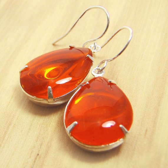 hyacinth orange vintage glass earrings