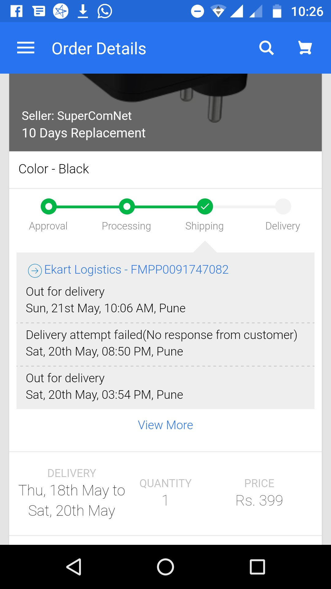 """ZakM on Twitter: """"@binnybansal returned to Flipkart and a horrible  experience. Delivery missed while I was home and now ekart says can't  expedite. Amazing CS!… https://t.co/gKFy0bkz6L"""""""