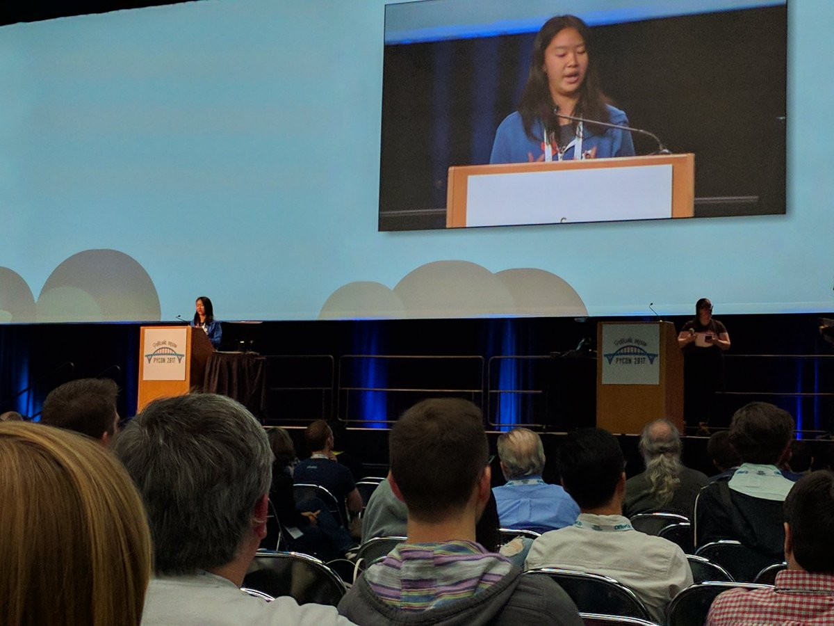 High school sophomore first PyCon, giving lightning talk at @pycon talking about ageism #pycon2017 <br>http://pic.twitter.com/bzEfU7ndNH