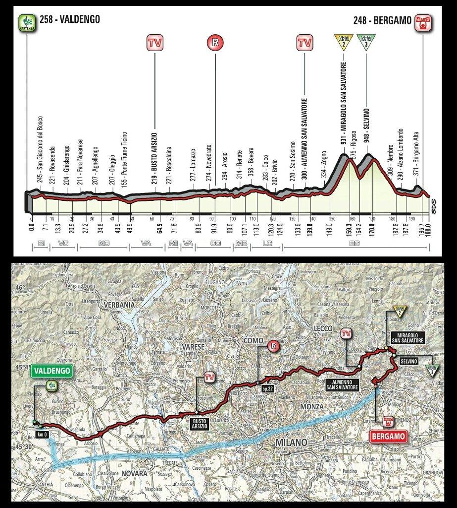 GIRO d'Italia 2017 Valdengo Bergamo Streaming Gratis Tappa 15: altimetria, mappa percorso, ultimi km in Diretta TV, orario