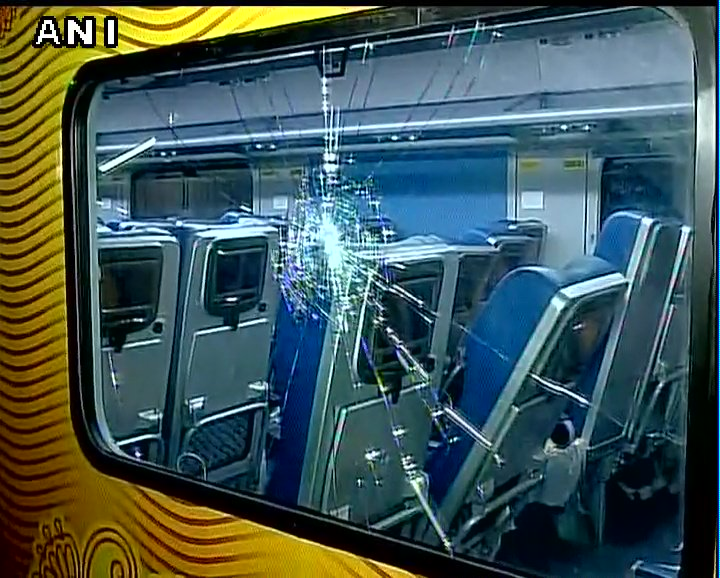 test Twitter Media - Windows of newly launched Tejas Express damaged by unknown people, while it was travelling from Delhi to Mumbai, yesterday https://t.co/LHMUbW4vkp
