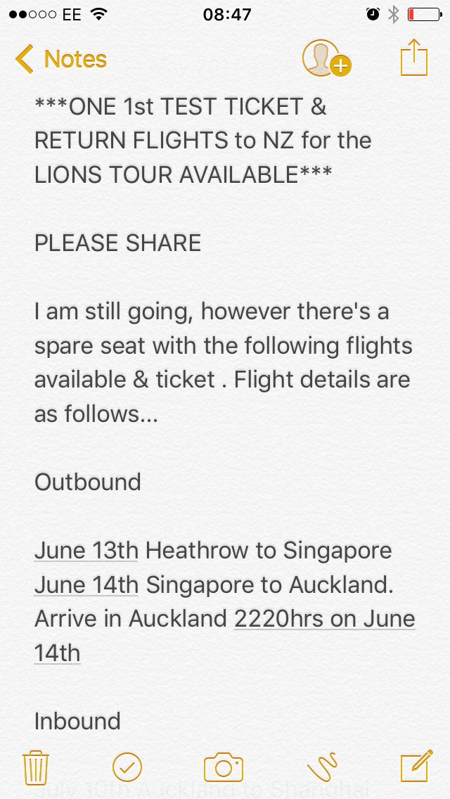 PLEASE RT **RETURN FLIGHTS TO NZ FOR LIONS TOUR &amp; 1ST TEST TICKET** #rugby #rugbyfamily #rugbyunited #LionsNZ2017<br>http://pic.twitter.com/FvFVQxcNsj
