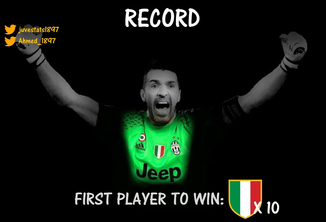 RECORD:  #Buffon [@gianluigibuffon] becomes the first ever player to win 10 Scudetti  [@SerieA_TIM]  #LE6END #WEWONAGAIN   #G1G1 <br>http://pic.twitter.com/mEaEhDqyNG
