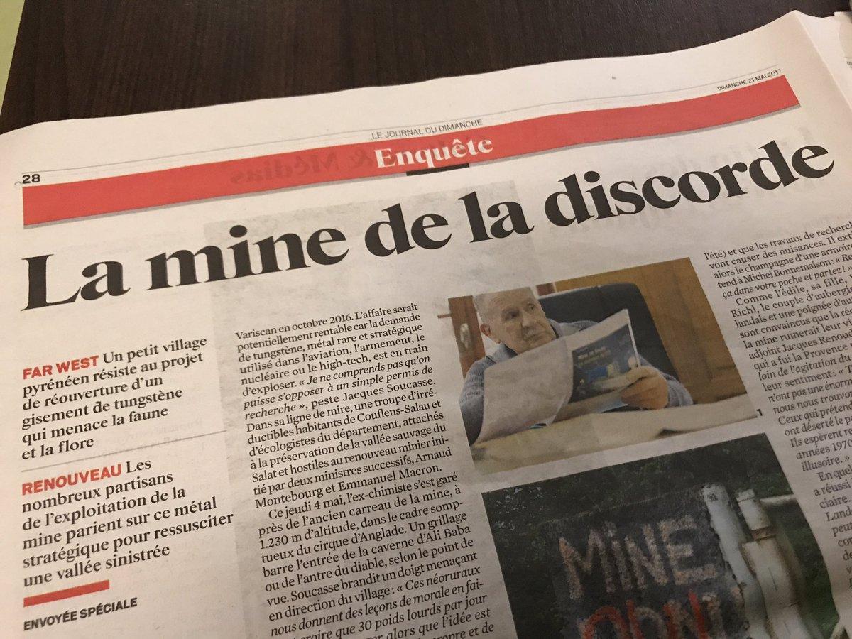 Dans le JDD, grande enquête d'@AnneLaureBarret sur 'la mine de la discorde' dans les Pyrénées, avec photo prise au drone par @ericdessons.