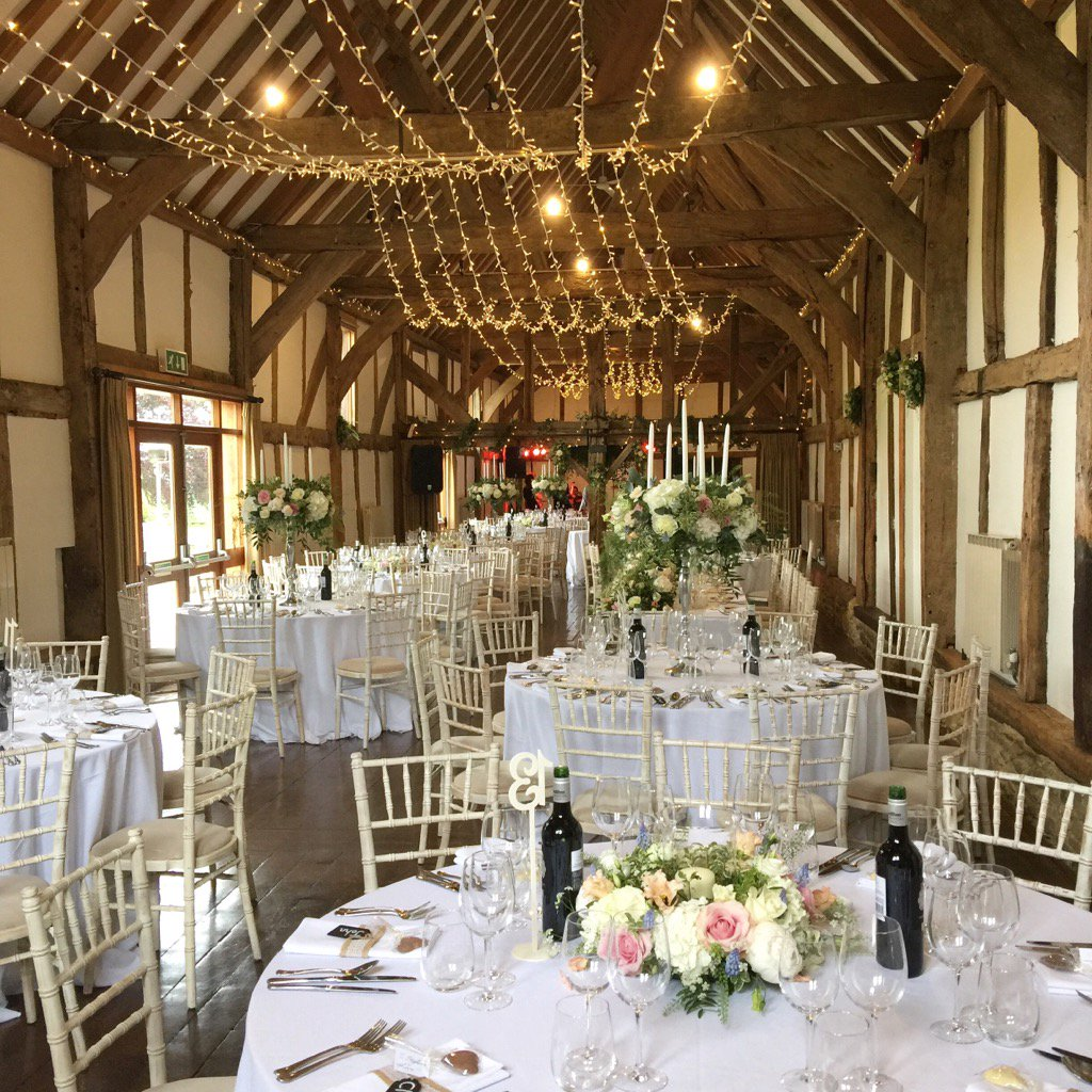 Beautifully decorated #barn for yesterday's lovely #wedding @LoseleyPark @Loseleyevents