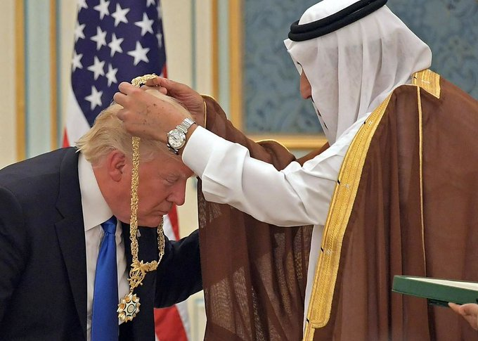 At least Trump isn't bowing before the Saudis like Obama just so US arms exporters can sell hundreds of billions & destabilize the Mid East.