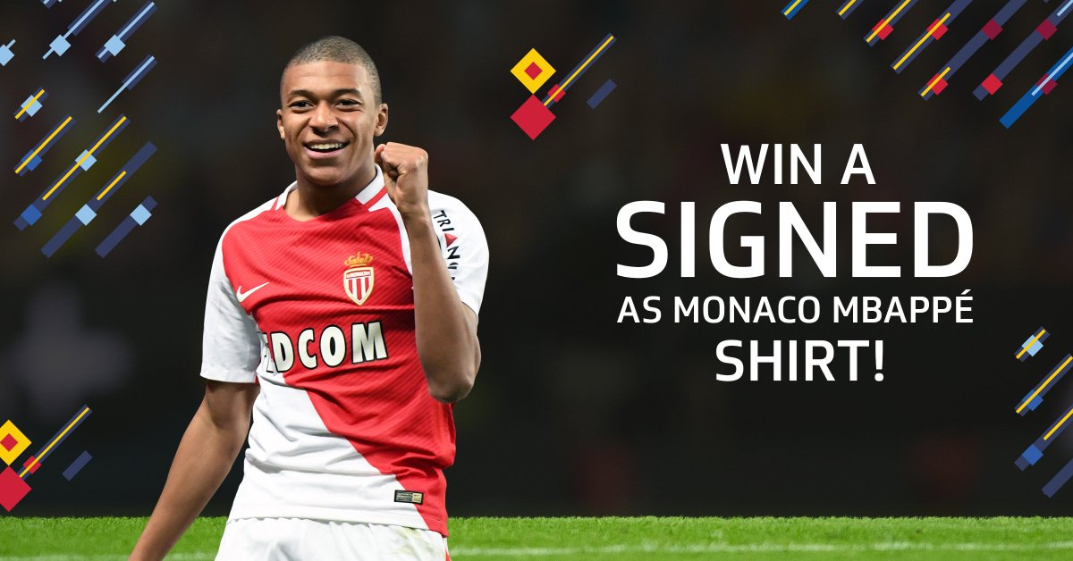 WIN an @AS_Monaco shirt signed by @KMbappe!   For your chance to win   https:// dgt.ltd/2ruOuPj  &nbsp;      #ASMonacoChampi8ns #MakeHistory<br>http://pic.twitter.com/FiGr1MC2To