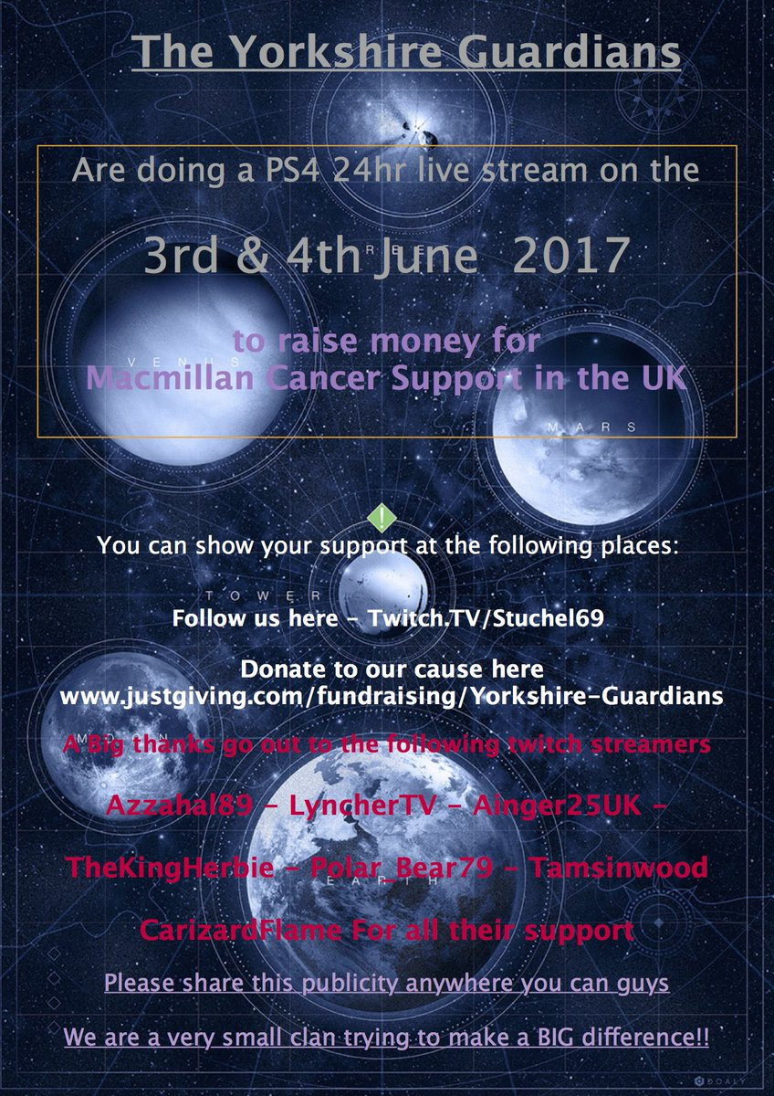 Hey guys, 2 weeks until this happens. Its for a real good cause. Can we get a RT. Share this around. It all helps #Destiny #charity #twitch<br>http://pic.twitter.com/F7cSwTZdJS