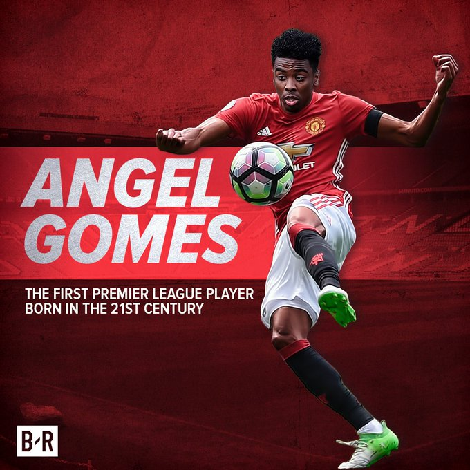Angel Gomes (16) makes his Manchester United debut.   He is the first Premier League player born in the 21st century.