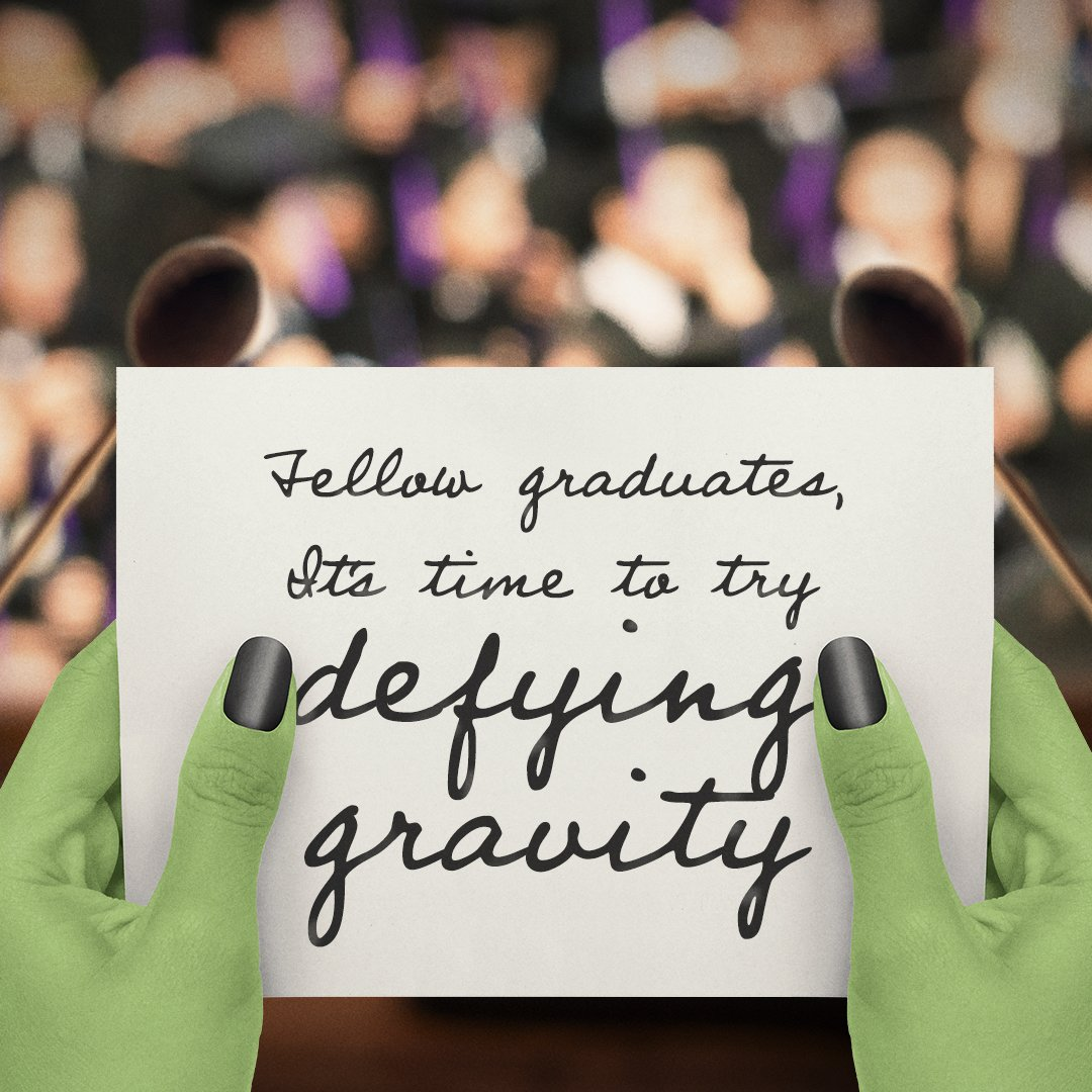 Congratulotions #graduates—remember, the #future is #unlimited! #Graduation #Wicked<br>http://pic.twitter.com/d88Bpvwa3s
