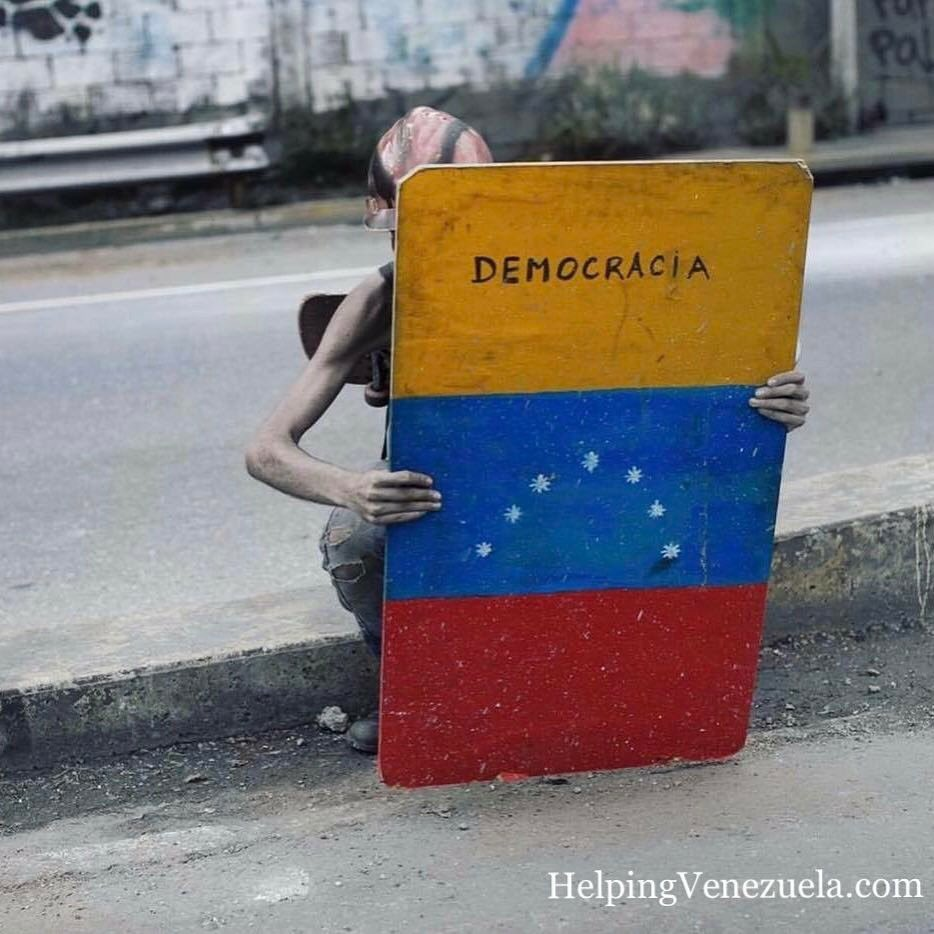 #Venezuela people are hungry for food and freedom  - malnourished protester protects himself from gas canisters w/ a homemade shield <br>http://pic.twitter.com/mx985wu7dy