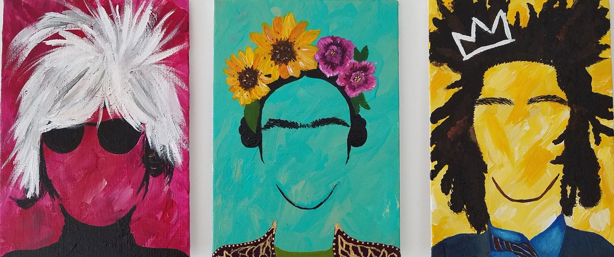 3 piece set of a few of my favorite artists.  may add a few more. #artist #acrylic #canvaspanel #warhol #frida #basquiat #legends #kfinnie<br>http://pic.twitter.com/uqDIHfMTAl