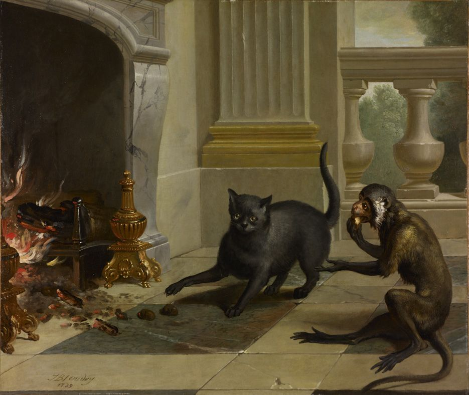 I love this painting! 🐈🐒 The Cat and the Monkey by Jean-Baptiste Oudry (1739)  Birmingham Museum and Art Gallery