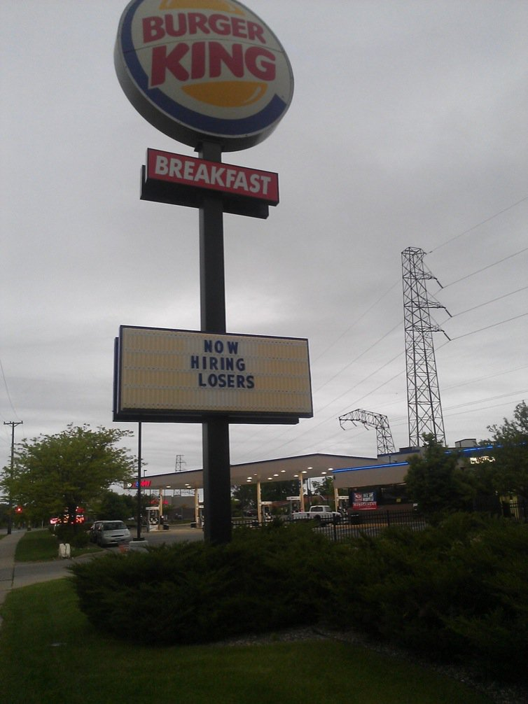 This Twin Cities Burger King is an equal opportunity employer (the C fell off). https://t.co/baBMX14XgE
