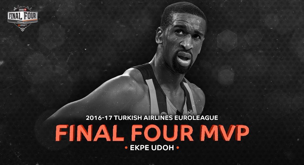 Congrats to the brodie @EkpeUdoh MVP and a @EuroLeague champ!!! Respect Brotha✊
