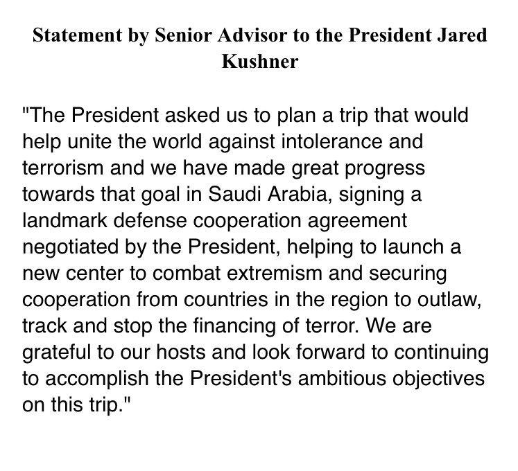 WH: Statement by Senior Advisor to the President Jared Kushner