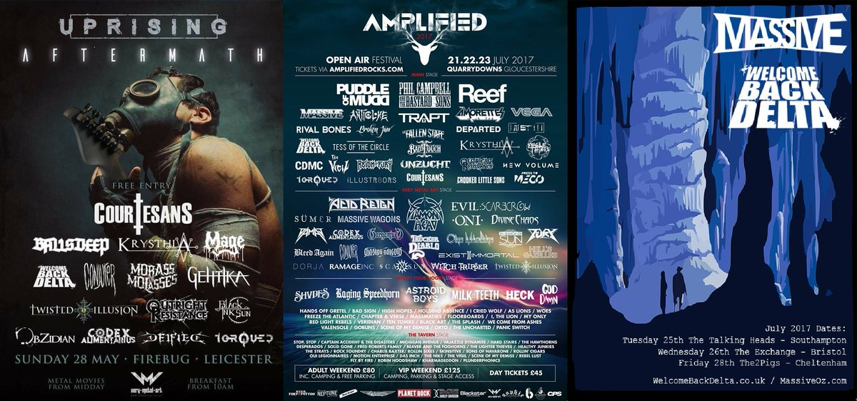 We are lucky to have some amazing #gigs to look forward to: @Uprising_Leic Aftermath @amplified2017 Festival &amp; dates with @massiveoz<br>http://pic.twitter.com/zkF3wDaiGR