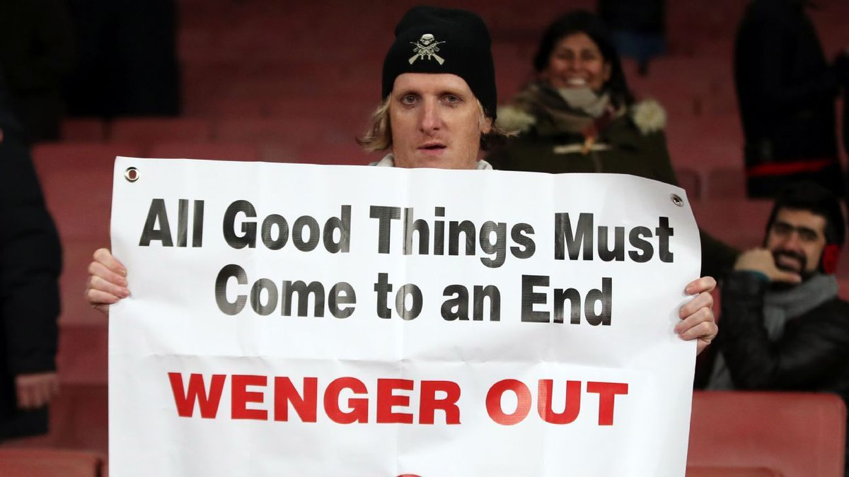 #rmclive YourTime is UP WENGER !!  @GUNNERS<br>http://pic.twitter.com/HlwzxJa7tH