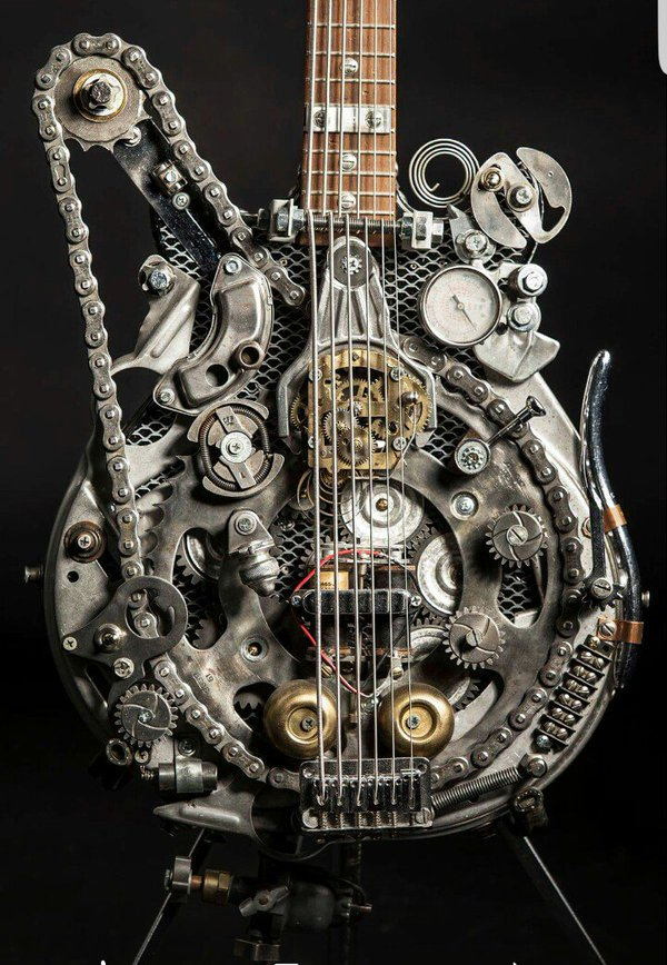 #Steampunk Awesome of the Day: Heavily Customized @Fender #Guitar(s) by Andy Corporon via @Steampunk_T #SamaGuitars