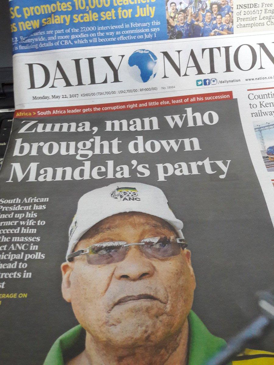 The headline in Kenya's @dailynation today. https://t.co/29jo5Bk9M3