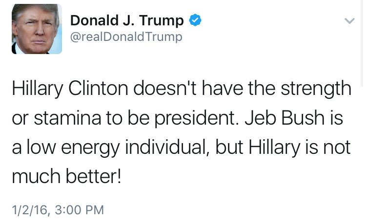 Maybe he's tired from years of tweeting stuff that's funny to revisit now that he's president