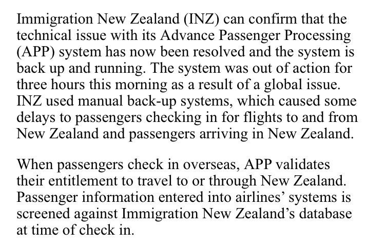Major airport delays in Australia and New Zealand as global